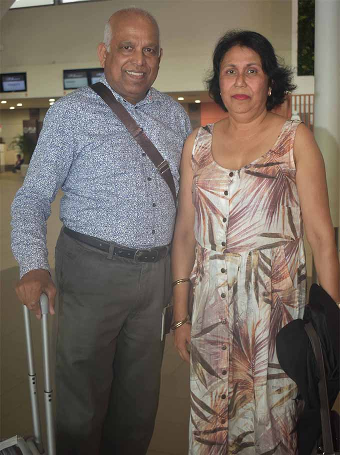 Former Fiji residents Niranjan Singh and his wife Rudra waiting to board the Air New Zealand aircraft at the Nadi International Airport on July 15, 2018. Photo: Waisea Nasokia