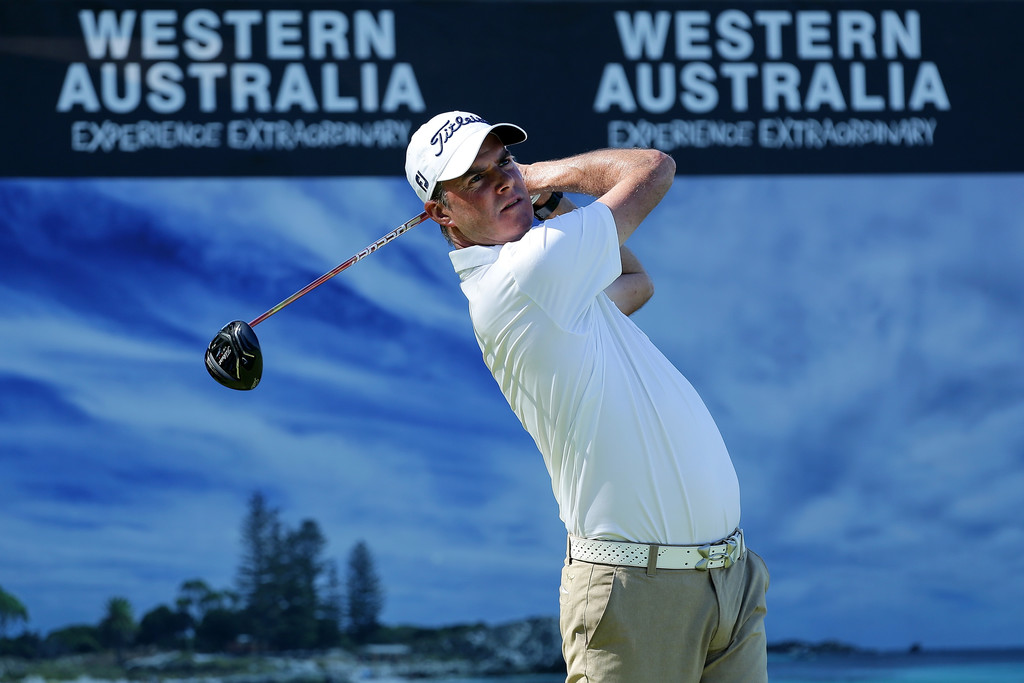 David Smail of New Zealand takes his tee shot during  the World Super 6 at Lake Karrinyup Country Club in Perth, Australia on February 9, 2018. Photo: Zimbio