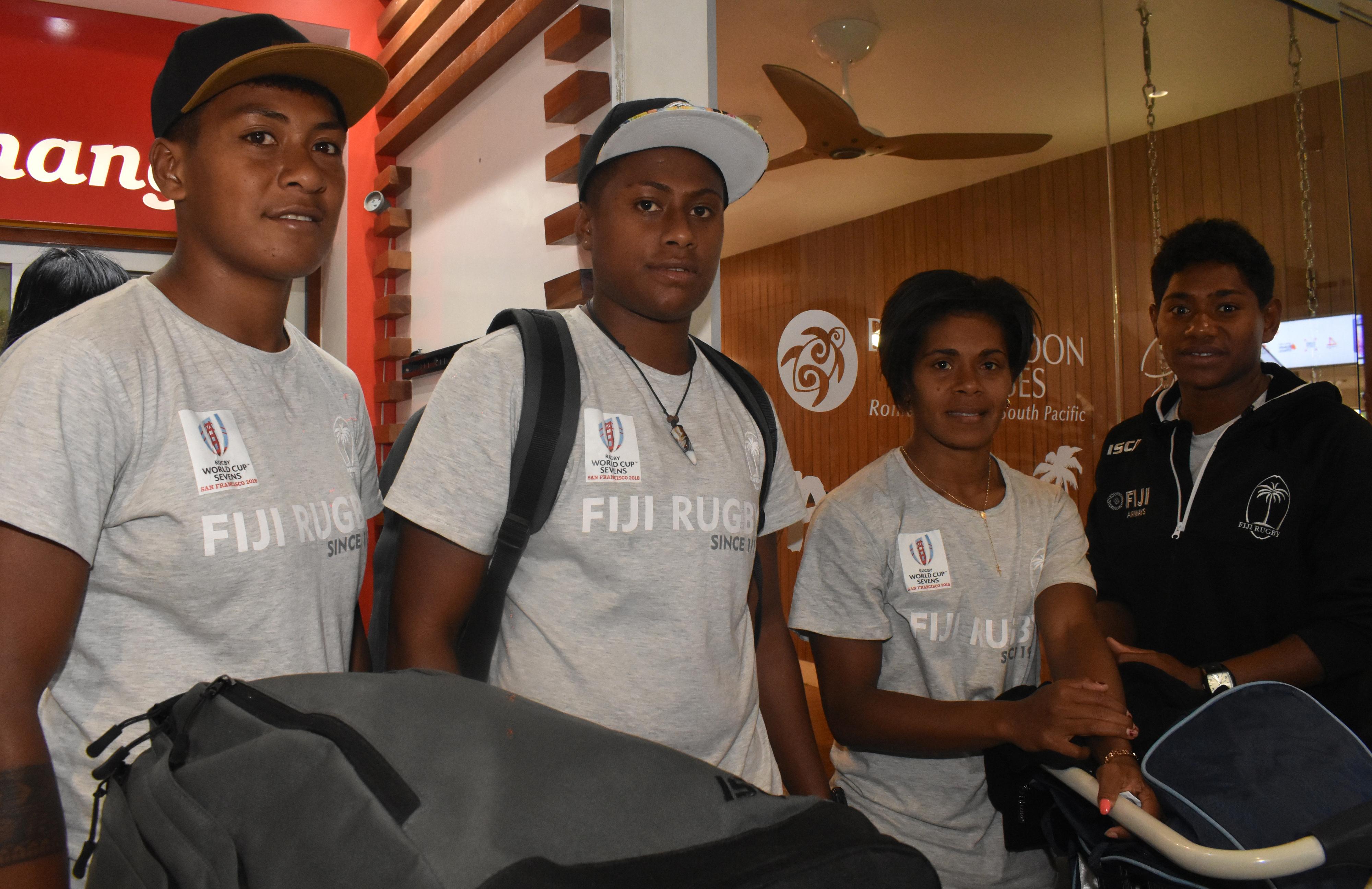 Fiji Airways Fijiana 7s reps  Merewai Cumu, captain Ana Maria Roqica and Ana Maria Neimasi at the Nadi International Airport on July 25, 2018 Photo : Waisea Nasokia