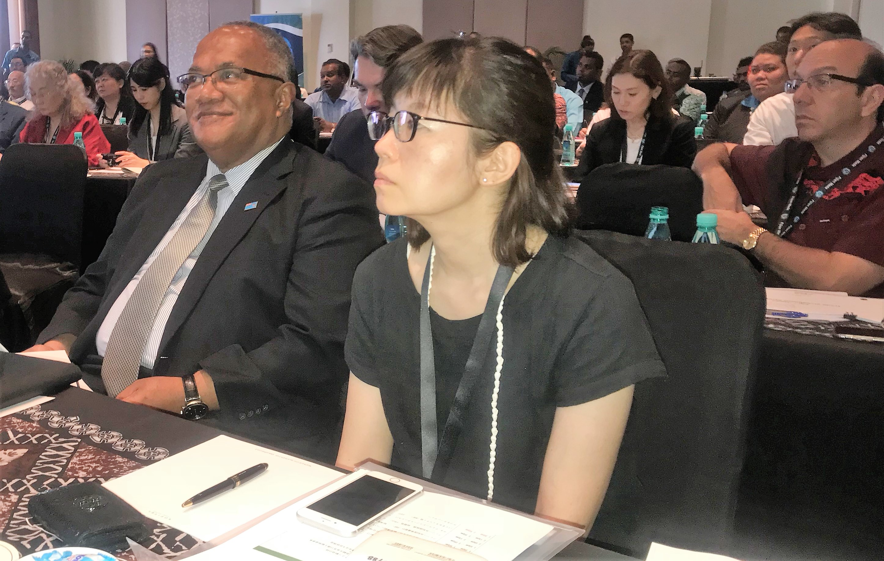 Fiji's Ambassador to Japan Isikeli Mataitoga (left) at the Japan-Fiji Business Symposium at the Sofitel Fiji Resort and Spa on July 9, 2018.