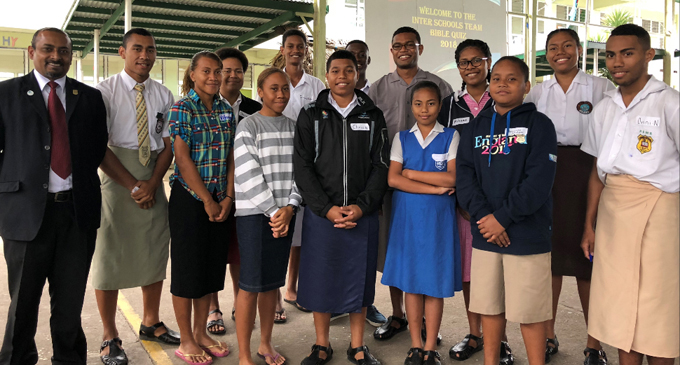 Principal of Gospel High School Immanuel Prasad (first from left) with the school captains of the Bible Quiz Competition at Gospel High School in Samabula, Suva on July 21,2018. Photo: Sheenam Chandra.