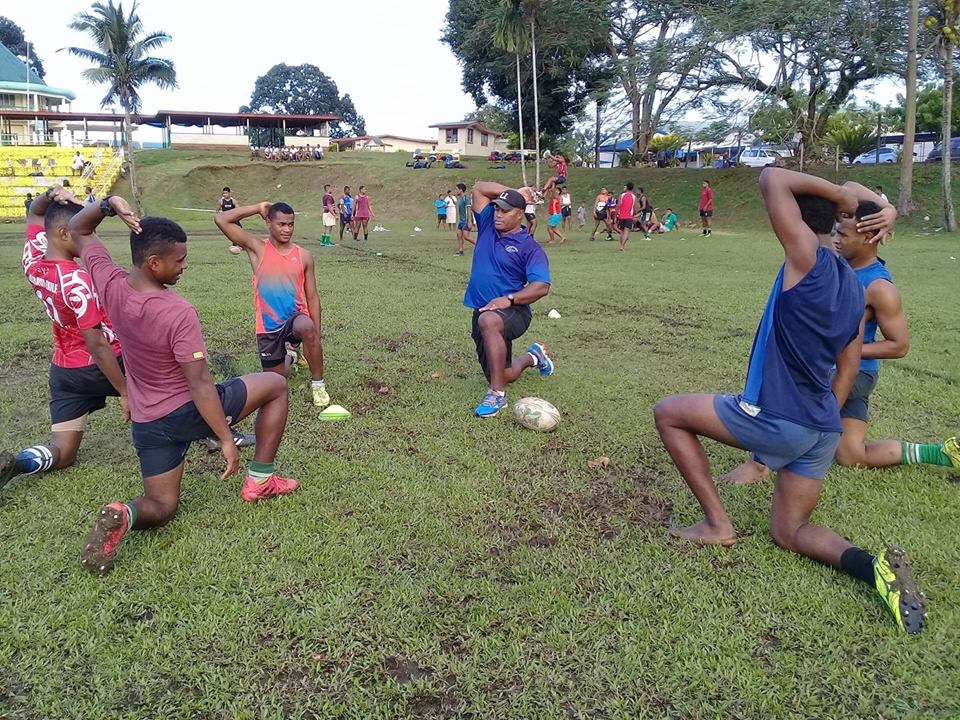 Seremaia Bai (fourth from left) during a clinic he conducted at Ratu Sukuna Memorial School last month