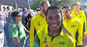 Australian women 7s rep Elia Green during the opening ceremony in San Francisco on July 20, 2018. Photo: Leone Cabenatabua