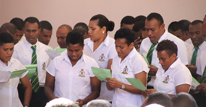 Members of the Fiji Corrections Services singing hymns at the Fiji Correctional quarterly church service at Lambert Hall, Suva on July 1, 2018.