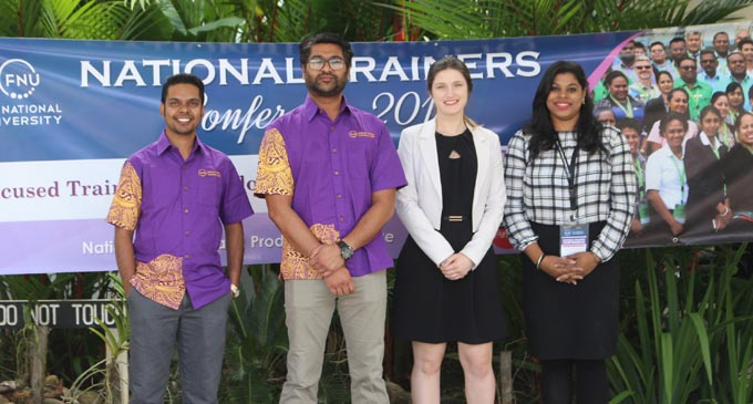 From left: Rosie Events Creative director Brigid Whitton, Rosie Group managing director Tony Whitton, general manager finance Tappoo Group Sumith Perera, and Rosie Group general manager Eroni Puamau as Rosie Holidays receive the Destination Marketing award at the 2017 ANZ Fiji Excellence in Tourism Awards at the Denarau Convention Centre on February 17, 2018.
