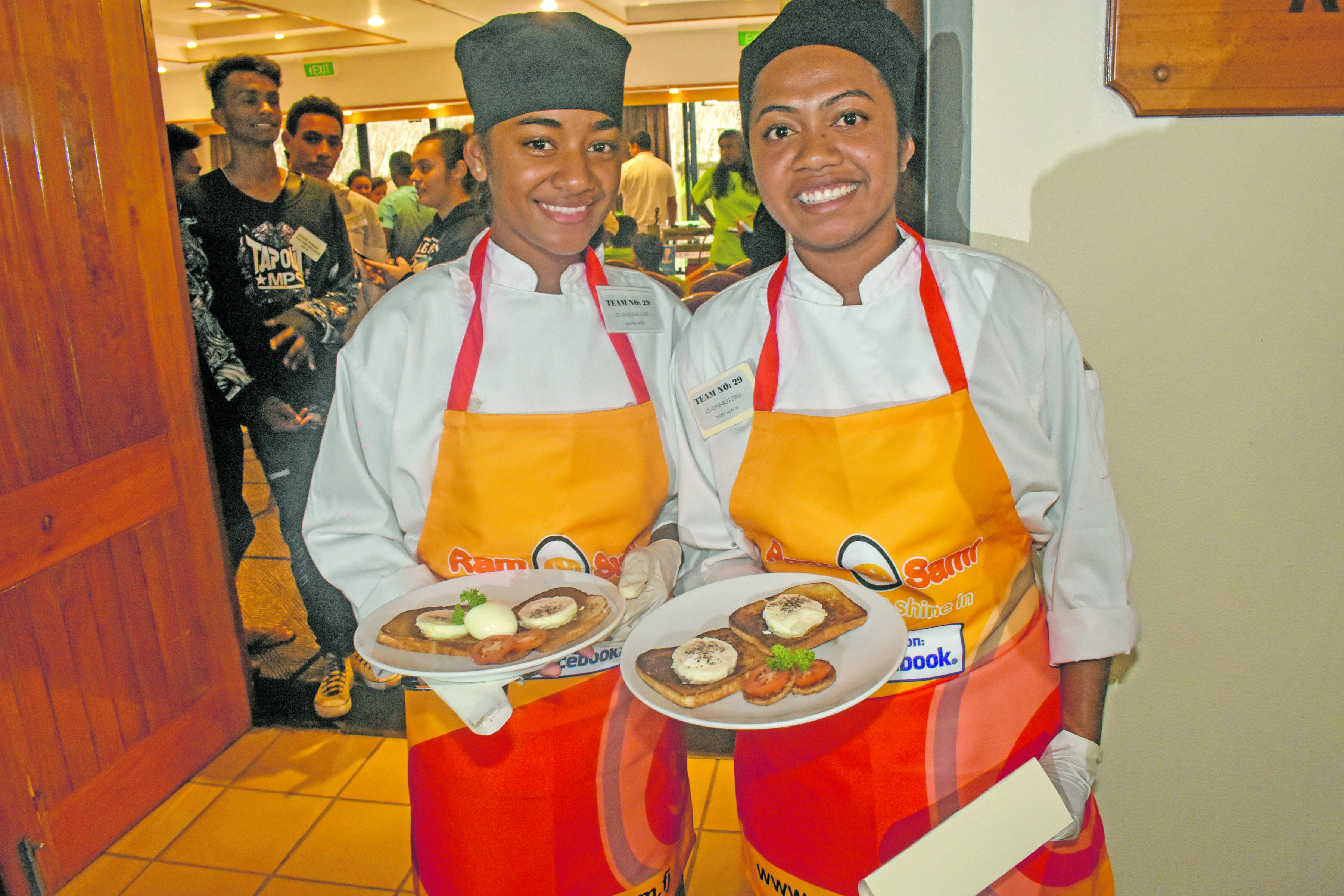 LDS Church College students Adi Emi Savu (left), and Talei Labadai with their Egg Dish the School Chef Challenge 2018 at Outrigger Fiji Beach Resort n Korolevu on July 5, 2018. Photo: Arieta Vakasukawaqa