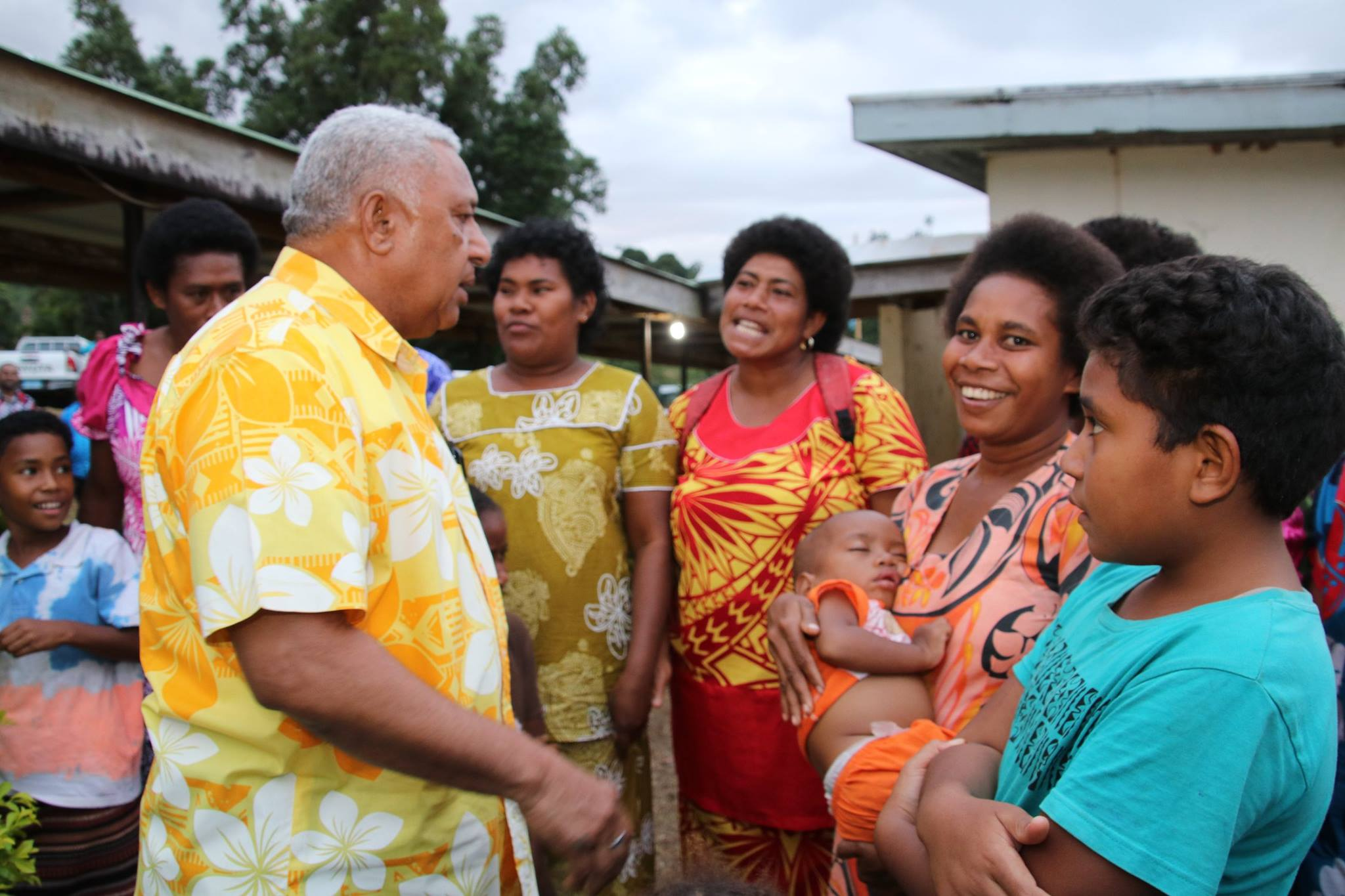 Prime Minister Voreqe Bainimarama with women of Vaturova and Koroalau in Cakaudrove during his visit on July 4, 2018. Photo: DEPTFO News