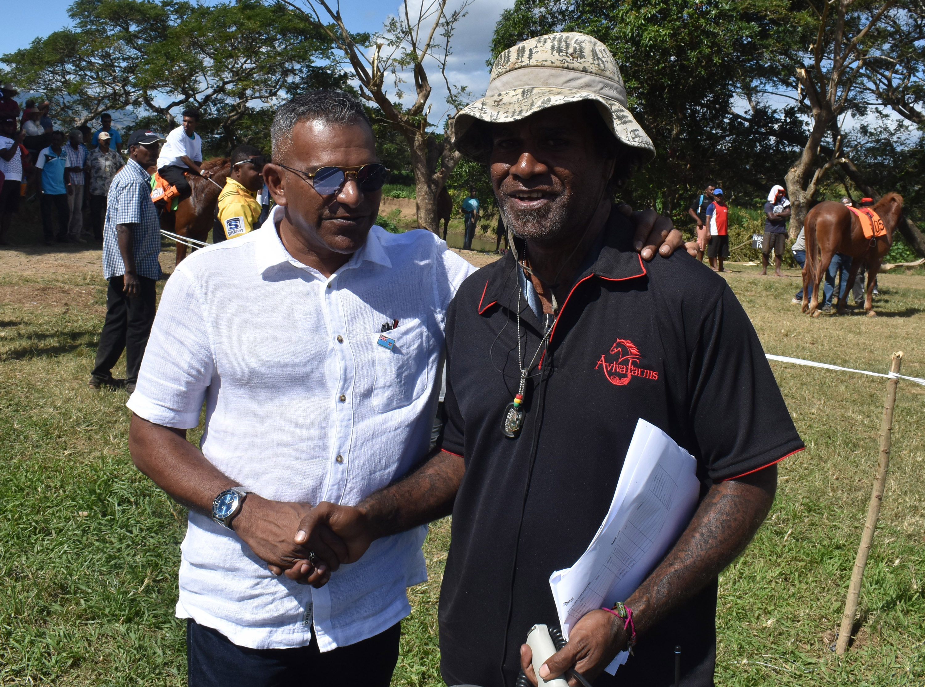Minister for Industry, Trade, Tourism, Lands and Mineral Resources, Faiyaz Koya with Race director Livai Tora at the official opening of the Sabeto Races at Aviva Farms in Sabeto, Nadi on June 30, 2018. Photo: Waisea Nsokia