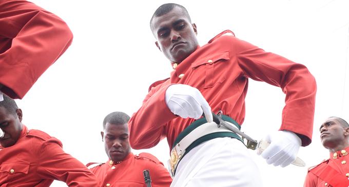 Former Fiji Airways Fijian 7s forward and Olympian Apisai Domolailai during the RFMF cadet pass-out parade on July 5, 2018. Photo: Ronald Kumar