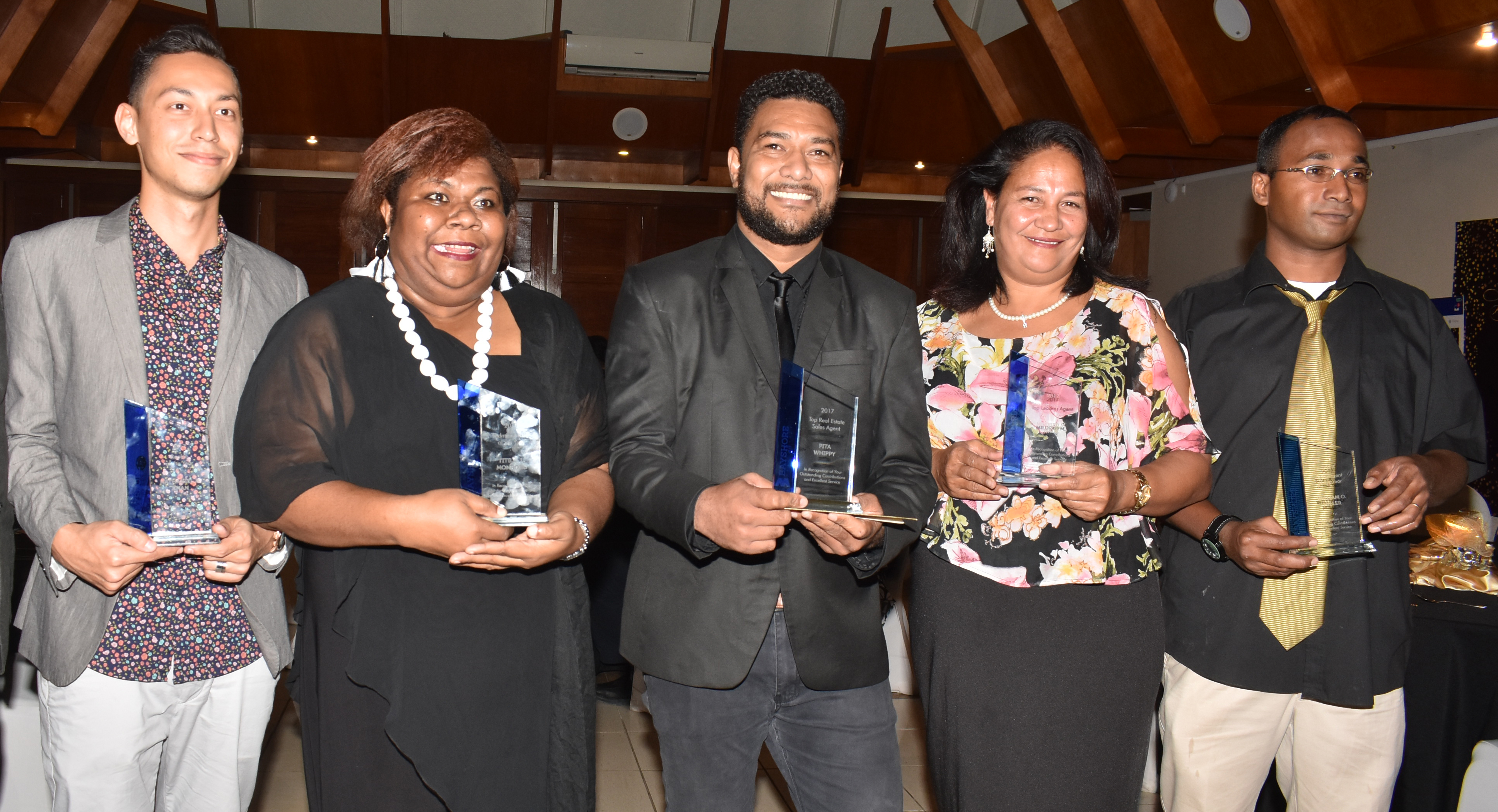 Bayshore Fiji Real-Estate Fiji Ltd award winners from left: Rookie of the year Nathaniel Khan, Administrator of the Year Titilia Moudoro, Top real-estate sales agent Peter Whippy, Top leasing agent Mildred Wade and Top Overall Agent of the Year William Miller during the Bayshore Fiji Real Estate at the awards night at the Tanoa International Hotel Nadi on June 30, 2018.  Photo: Waisea Nasokia
