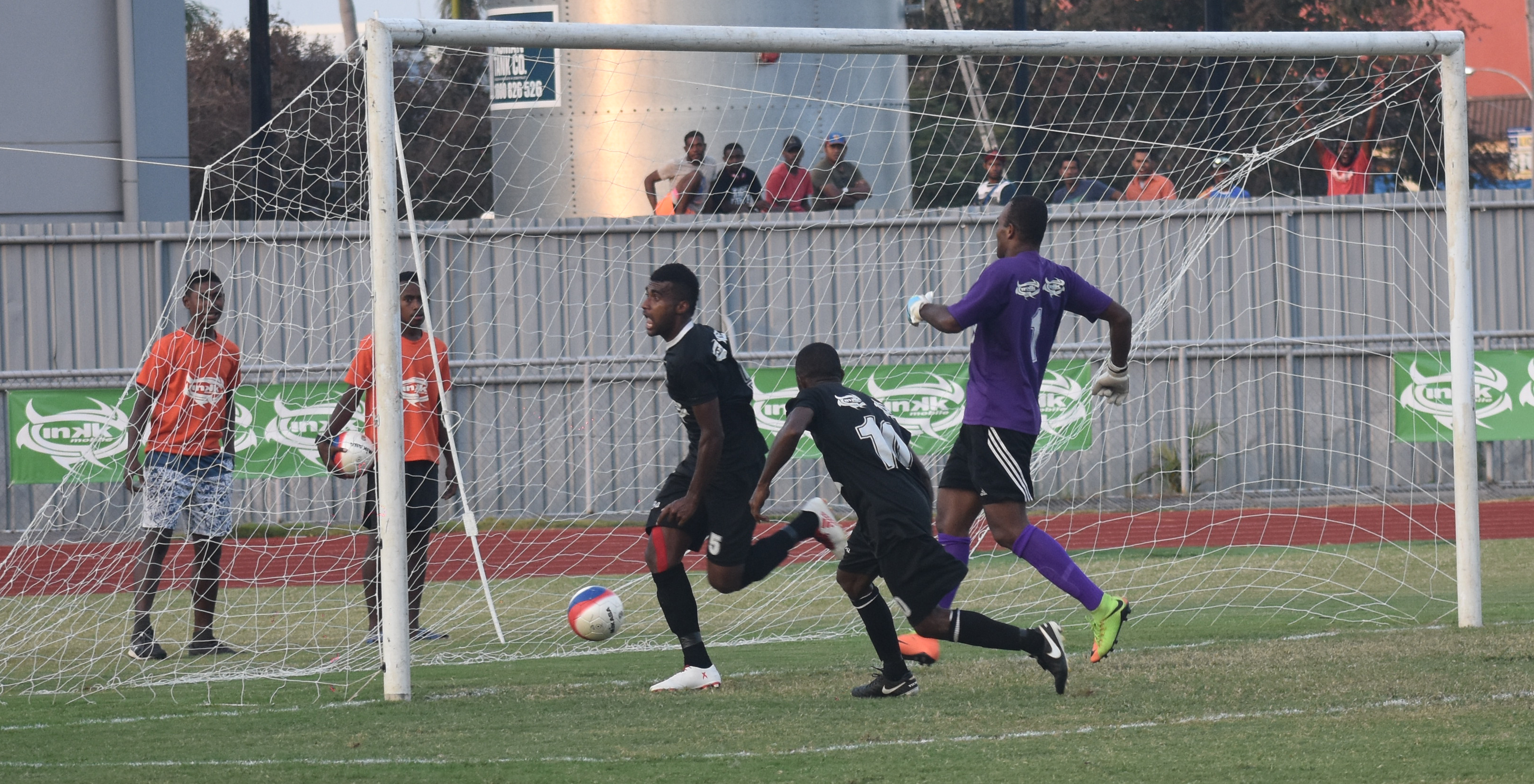 Ba striker Samuela Nabenia (left) slams in the second goal against Suva in the Inkk Mobile Battle of the  Giants final at Churchill Park, Lautoka on July 29, 2018. Photo: Waisea Nasokia