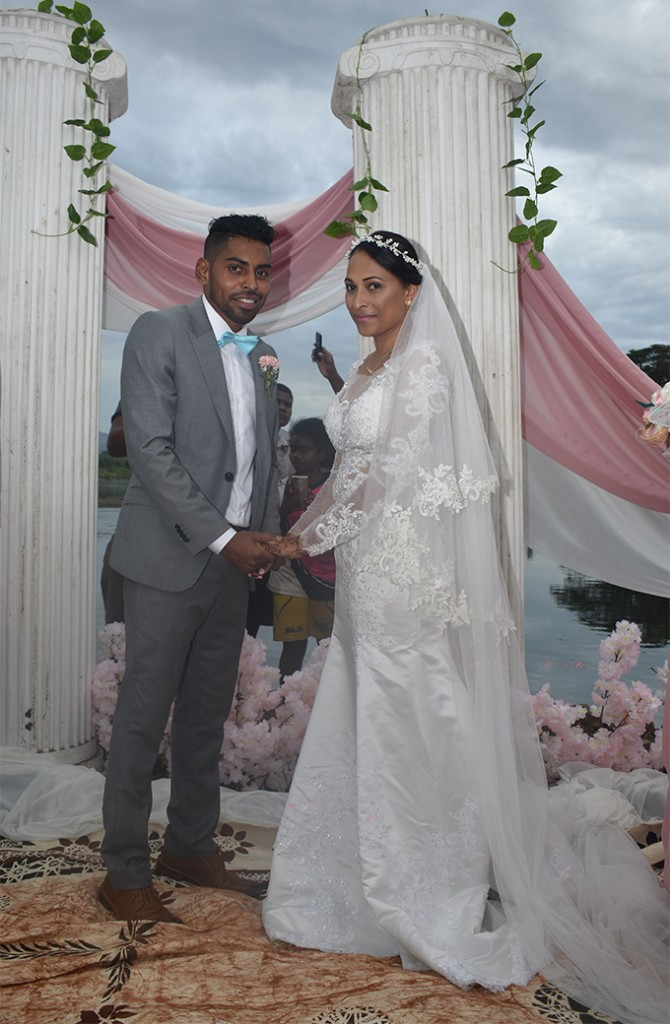 The newly-weds Roy Krishna and Naziah Ali in Ba on July 15, 2018.   Photo: Waisea Nasokia