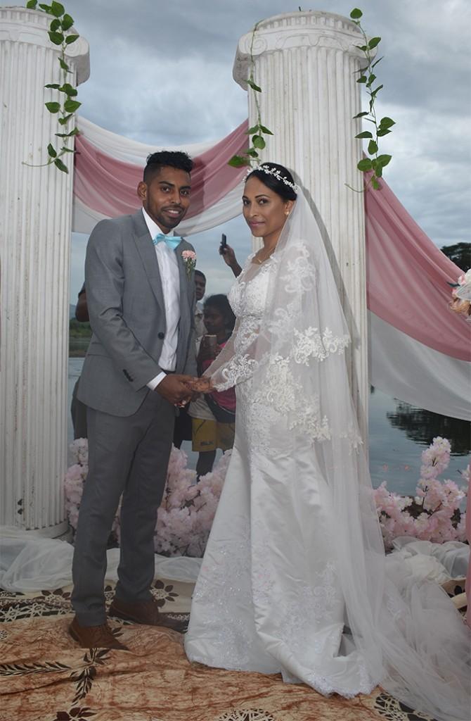 The newly-weds Roy Krishna and Naziah Ali in Ba on July 15, 2018.   Photo: Waisea Nasokia