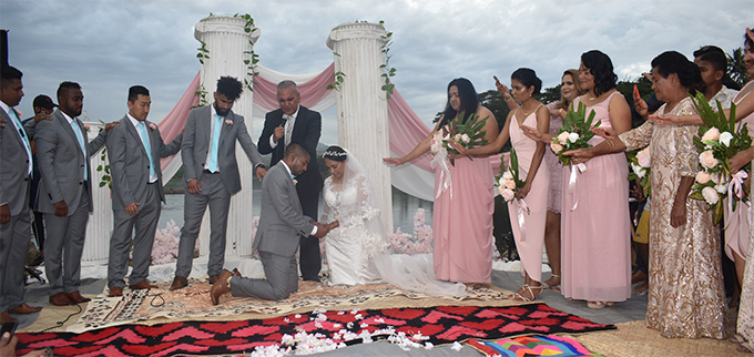 The newly-weds Roy Krishna and Naziah Ali being blessed during their wedding in Ba on July 15, 2018.  Photo: Waisea Nasokia