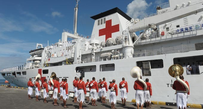Welcome Ceremony For Chinese Hospital Ship Ark Peace
