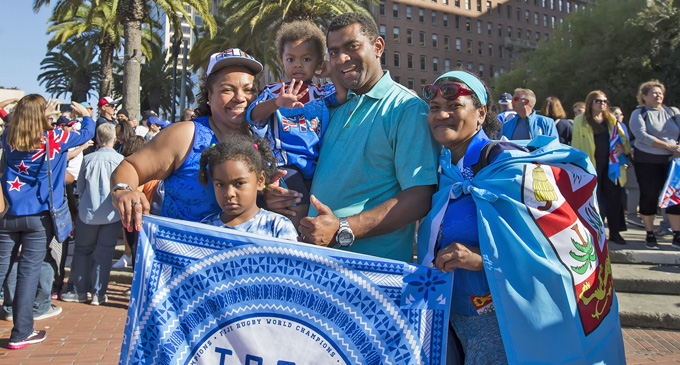 Fijian fans during the opening ceremony in San Francisco on July 20, 2018. Photo: Kitione Rokomanu/ ZoomFiji