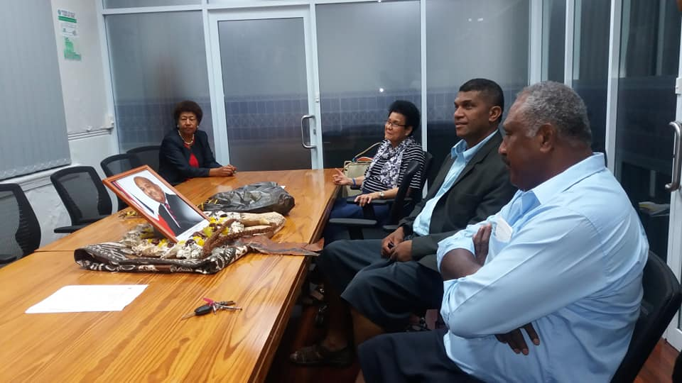 Opposition Leader Ro Teimumu Kepa and SODELPA MPs at the Opposition office before paying their respects to the family of the late Anare Vadei. Photo: Opposition Office