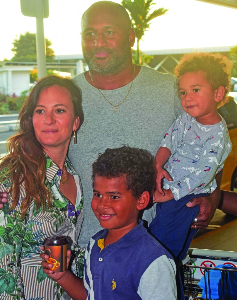 Dual International Lote Tuqiri with his family at the Nadi International Airport. Photo: WAISEA NASOKIA