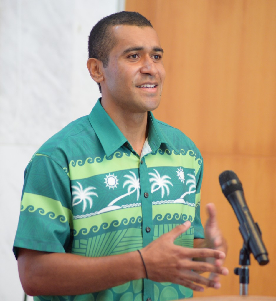Orisi Naivalurua while sharing his experience of three year studying in China at Chinese Embassy in Suva  on August 28, 2018. Photo: Ronald Kumar.