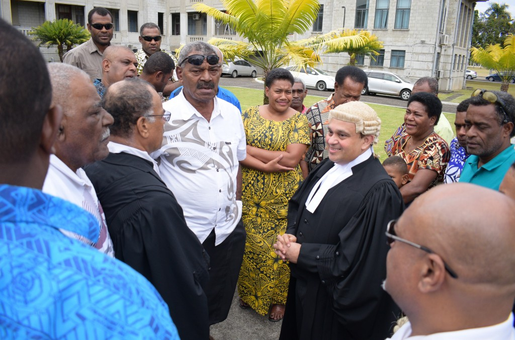 Landowners from Yavusa e tolu (Navatulevu, Sila, Noakuilau ) with lawyer Akuila Naco and Julian Moti outside Court in Suva on August 15, 2018. Photo: Ronald Kumar.