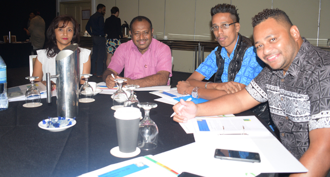 From left: Shareen Sharma, Anare Leweniqila, Vasheel Nand and Vilikesa Qalilawa during the Fiji Human Resources Institute workshop at Suva's Holiday Inn on August 27, 2018. Photo: Simione Haravanua