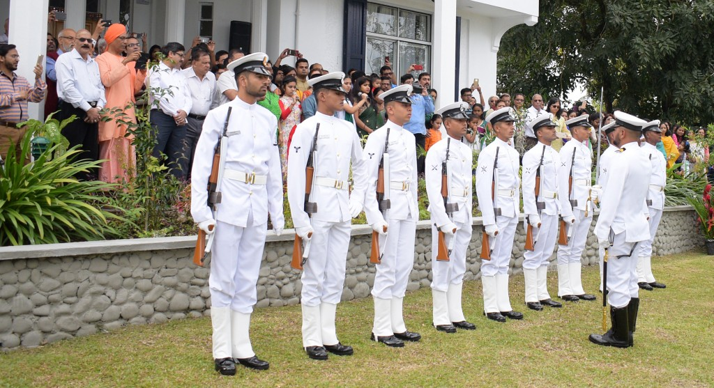 Members of  visiting Indian Navy Ship Sahyadri  during the flag rising ceremony to mark 72nd India Independence day celebration at India House in Suva on August 15, 2018. Photo: Ronald Kumar.