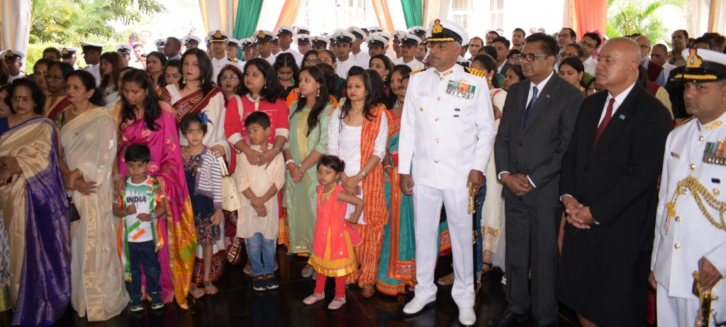 Guests with visiting Indian Navy Ship Sahyadri Commanding officer Captain Shantanu Jha (from left), Permanent Secretary in the Office of the Prime Minister, Sugar Industry, Yogesh Karan, Iowane Naivalurua, Permanent Secretary for Foreign with Indian Defense Adviser, Captain Manish Rai during  72nd India Independence day celebration at India House in Suva on August 15, 2018. Photo: Ronald Kumar.