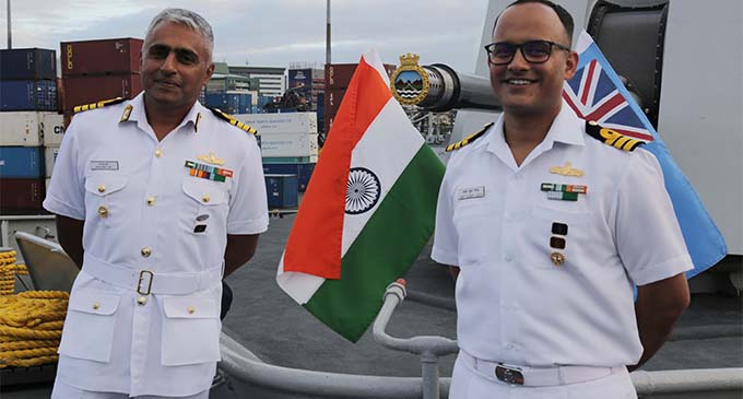 Captain Shantanu Jha (left) with Commander Amit Sinha onboard the the Indian Navy Ship (INS) Sahyadri at Port of Suva. August 13, 2018.. August 13, 2018. Photo: Wati Talebula