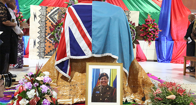 The casket of the late Major Amelia Tadu during her homecoming service at the Army Barrack in Nabua Suva on August 30,2018.Photo:Simione Haravanua.