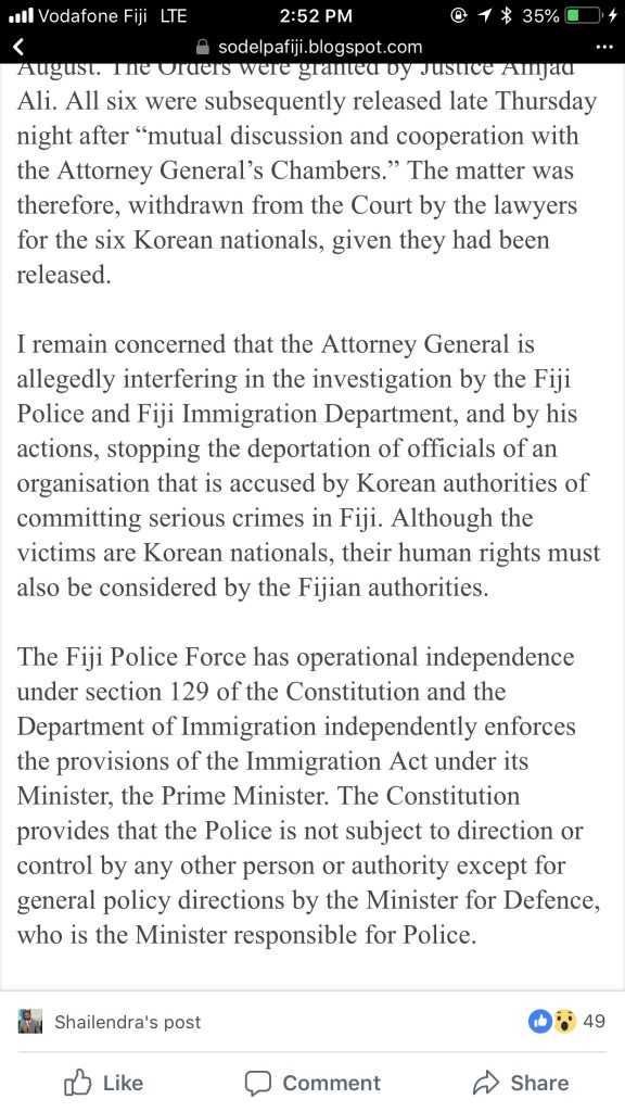 SODELPA released a statement by leader Sitiveni Rabuka calling on the Attorney-General to stop interfering in Grace Road investigation.