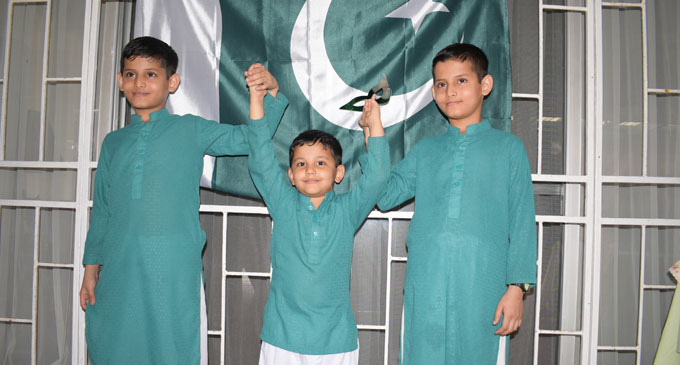From left Muhamad Saud, Saeed Shahzal and Muhammed Sameed during the Pakistan Independence Day celebration on August 26, 2018. Photo: Simione Haravanua