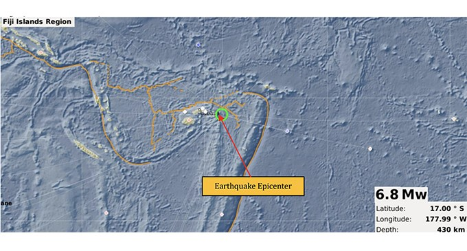 6.8 Magnitude Earthquake Occurred 286 km East From Labasa