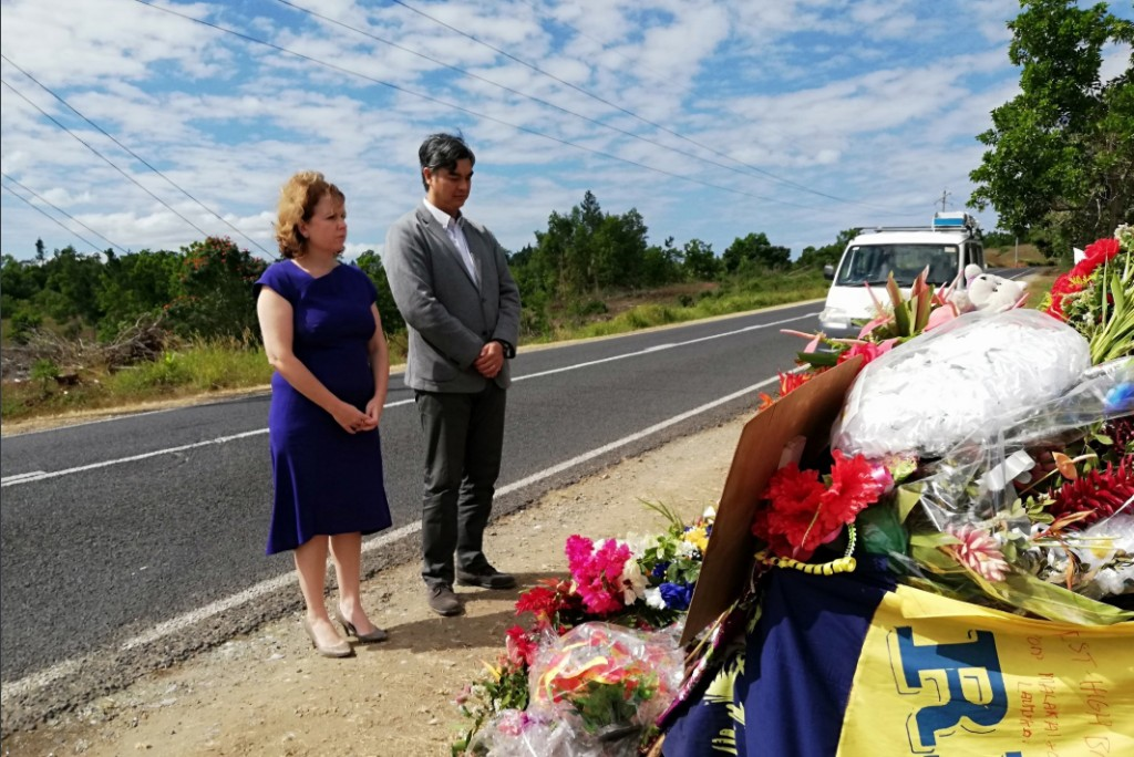 British High Commissioner to Fiji Melanie Hopkins and her French counterpart, Sujiro Seam made a brief stop at the Nabou shrine to pay their respects. Photo: Melanie Hopkins/Twitter
