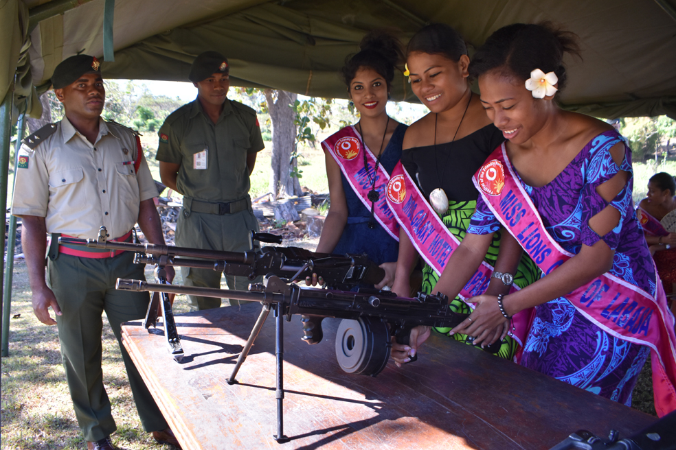 Vodafone Festival of the Friendly North contestants (from left) Miss Rotary Club of Labasa Arti Ashna, Miss Galaxy Hotel and Apartments Sainimere Vosare and Miss Lions Club of Labasa Salaseini Kulinidilo at the Republic of Fiji Military Forces Sukanaivalu Barracks in Labasa on August 23, 2018. Photo: Shratika Naidu