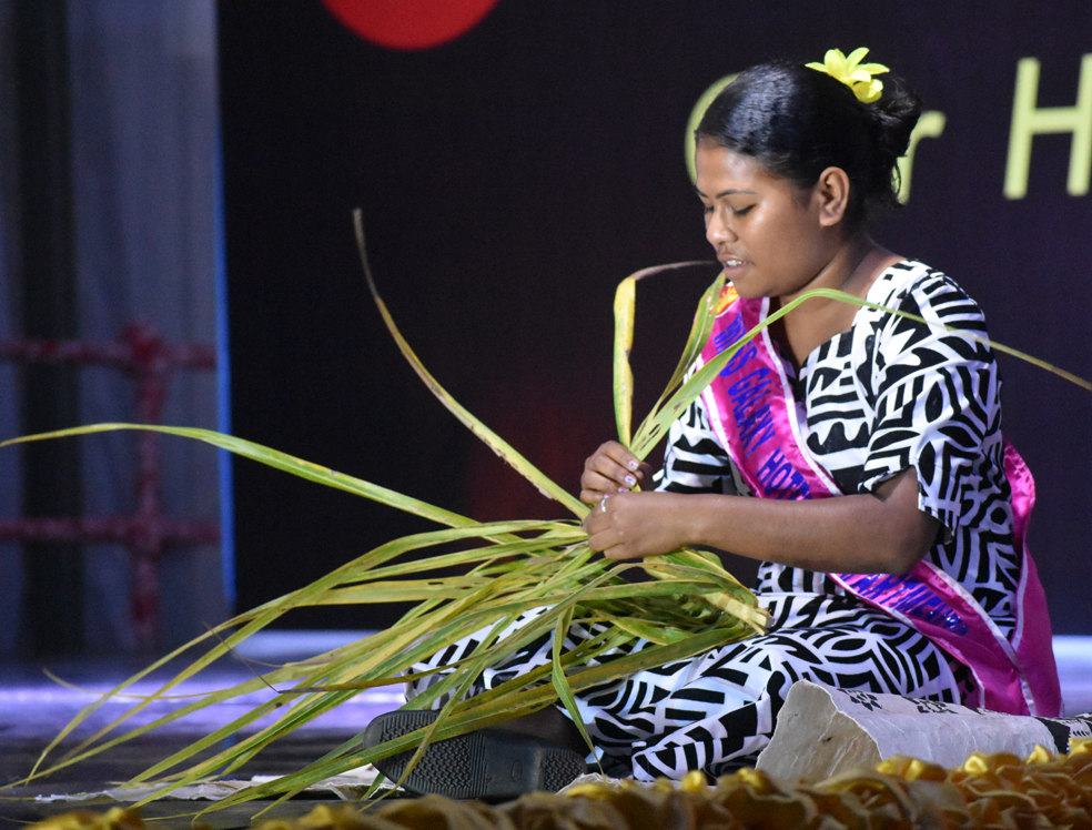 Miss Galaxy Hotel and Apartments Sainimere Vosare on August 22, 2018, showcasing her talent during the Vodafone Festival of the Friendly North at Subrail Park in Labasa. Photo: Shratika Naidu