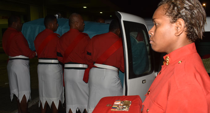Lance corporal Alisi Diului a member of the Republic of Fiji Military Forces contingent which received the body of the late Major Amelia Dauveiqaravi Tadu at the Nadi International Airport yesterday morning. Photo: Waisea Nasokia