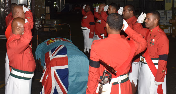 Republic of Fiji Military Forces officers received the body of the late Major Amelia Dauveiqaravi Tadu at the Nadi International Airport on August 27, 2018. Photo: Waisea Nasokia