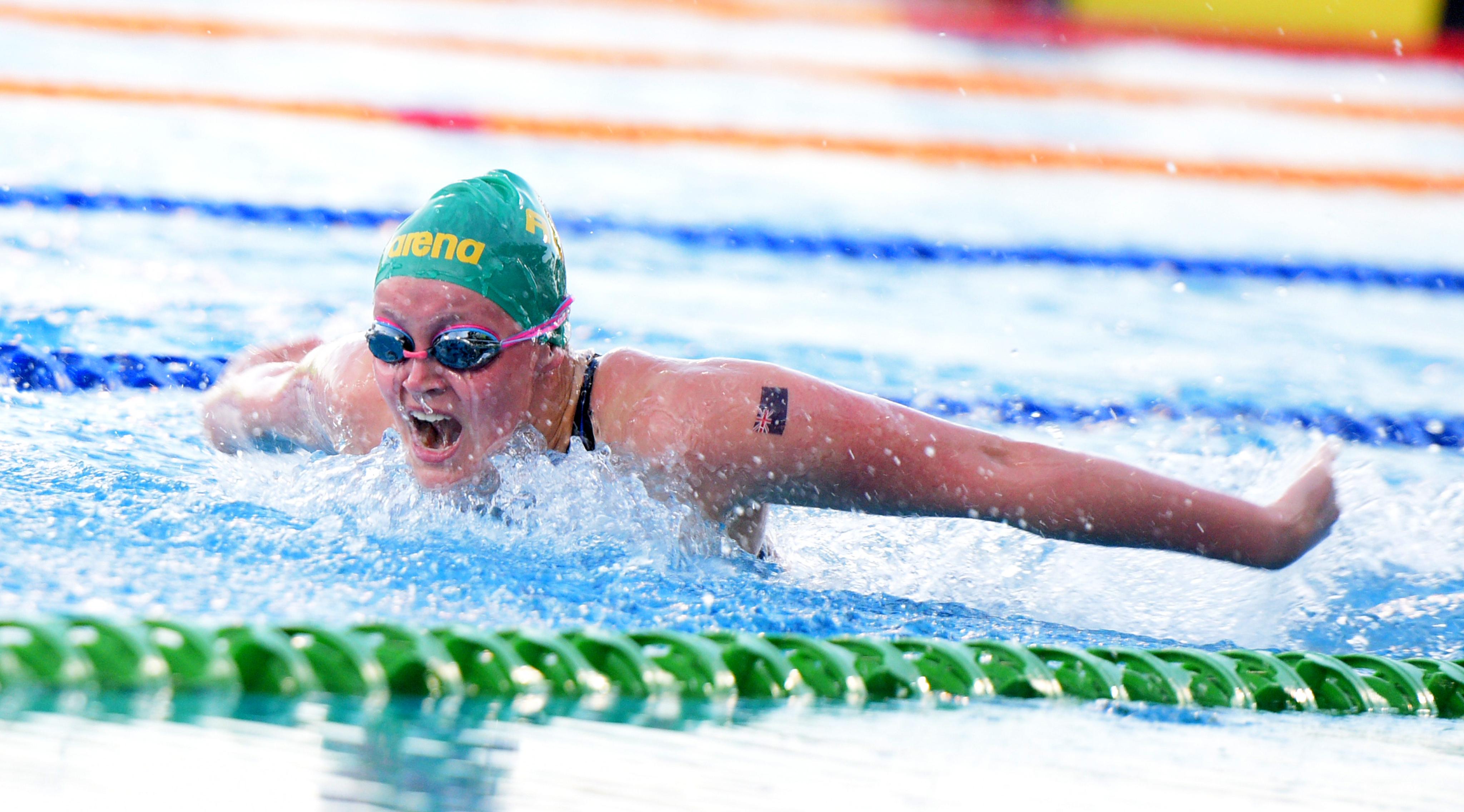 Jacinta Essam of Australia during the 2018 Junior Pan Pacific Swimming Championships women's 400m medley at Damodar Aquatic Centre on August 24, 2018. Photo: Ronald Kumar