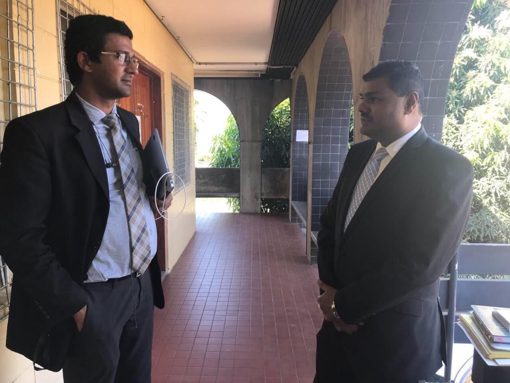 Lawyers Wasu Pillay and Ronald Gordon of Gordon and Company outside the High Court in Lautoka.