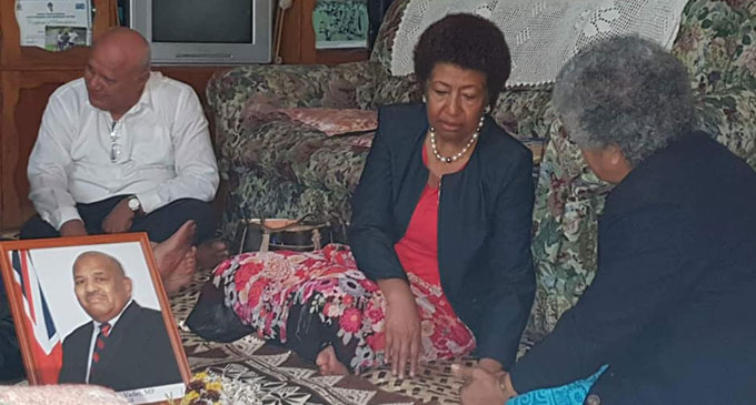 Opposition leader Ro Teimumu Kepa, Viliame Gavoka visit the family of the late Anare Vadei at their Nawanawa residence.
