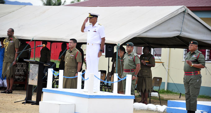 Commander RFMF Rear Admi¬ral Viliame Naupoto at Balckrock during the sliding ceremony. Photo: RFMF Media