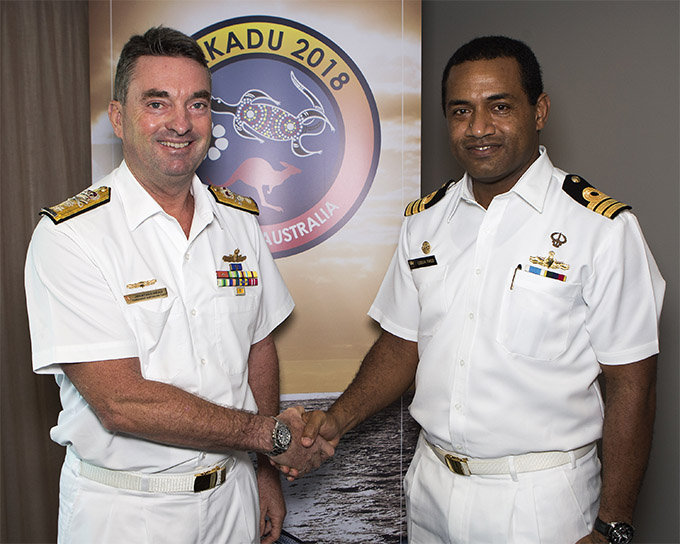 Commander Australian Fleet, Rear Admiral Jonathan Mead, AM, RAN, welcomes Commander Ledua Yaco, of the Fijian Navy, to a bilateral meeting prior to the commencement of Exercise Kakadu in Darwin, Northern Territory.