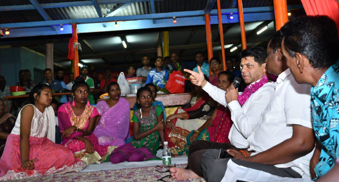 Acting Prime Minister and Attorney-General Aiyaz Sayed-Khaiyum (middle) with devotees at Raviravi Sangam School Temple in Ba on September 1, 2018. Photo: DEPTFO News