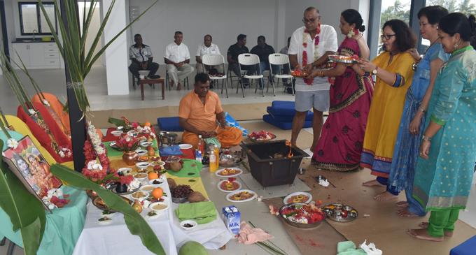 Standing from left: Blue Gas managing director Ajay Punja, wife Navnita Punja, Leena Punja, Patricia Punja and Kavita Singh during a pooja ceremony at the property in Nadi on September 6, 2018. Photo: Waisea Nasokia
