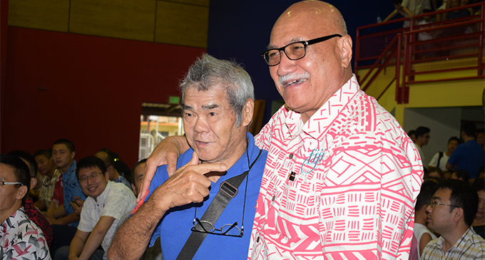 President Major-General (Ret'd) Jioji Konrote with Kester Yee during the Chinese National Day and the Moon Festival at the Yat Sen Secondary School Hall on September 23, 2018.  Photo: Simione Haravanua