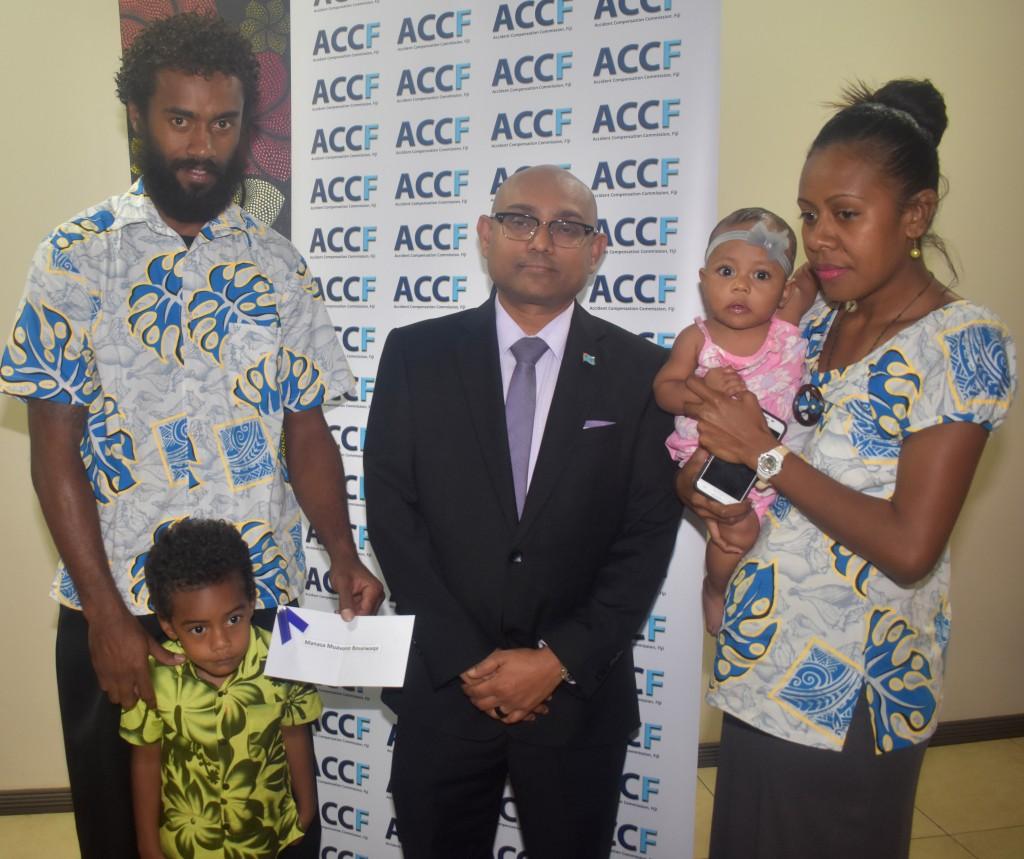 From left,  Accident Compensation Commission Fiji , Chief Executive Officer,Parvez Akbar with Manasa Boseiwaqa and his wife, Siteri Boseiwaqa  in Nadi on 5 September 2018. PHOTO: ARIETA VAKASUKAWAQA
