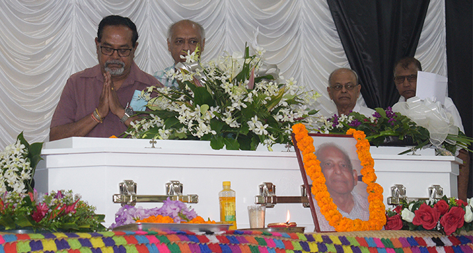 Family and friends pay their last  respects to the late Jai Narayan on  September 28,2018.  Photo: Simione Haravanua