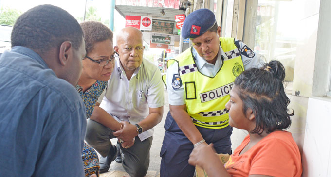 Minister for Women, Children and Social Welfare Mereseini street people Vuniwaqa took to the streets with her team and some Police officers to visit homeless people in the capital city.