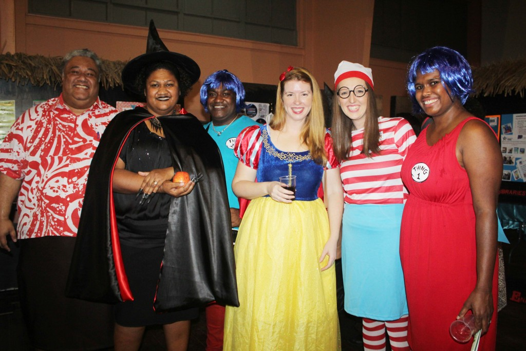 Librarians dressed up during the National Library launch on Friday night. Photo: WATI TALEBULA