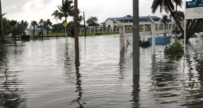 The entrance to Queen Elizabeth Drive from Laucala Bay road at around 8am this morning.